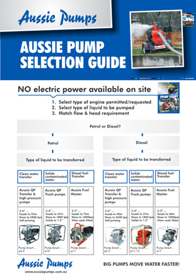 aussie pumps pump selection guide