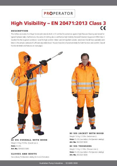 ProOperator Hi Vis Protective Gear Catalogue